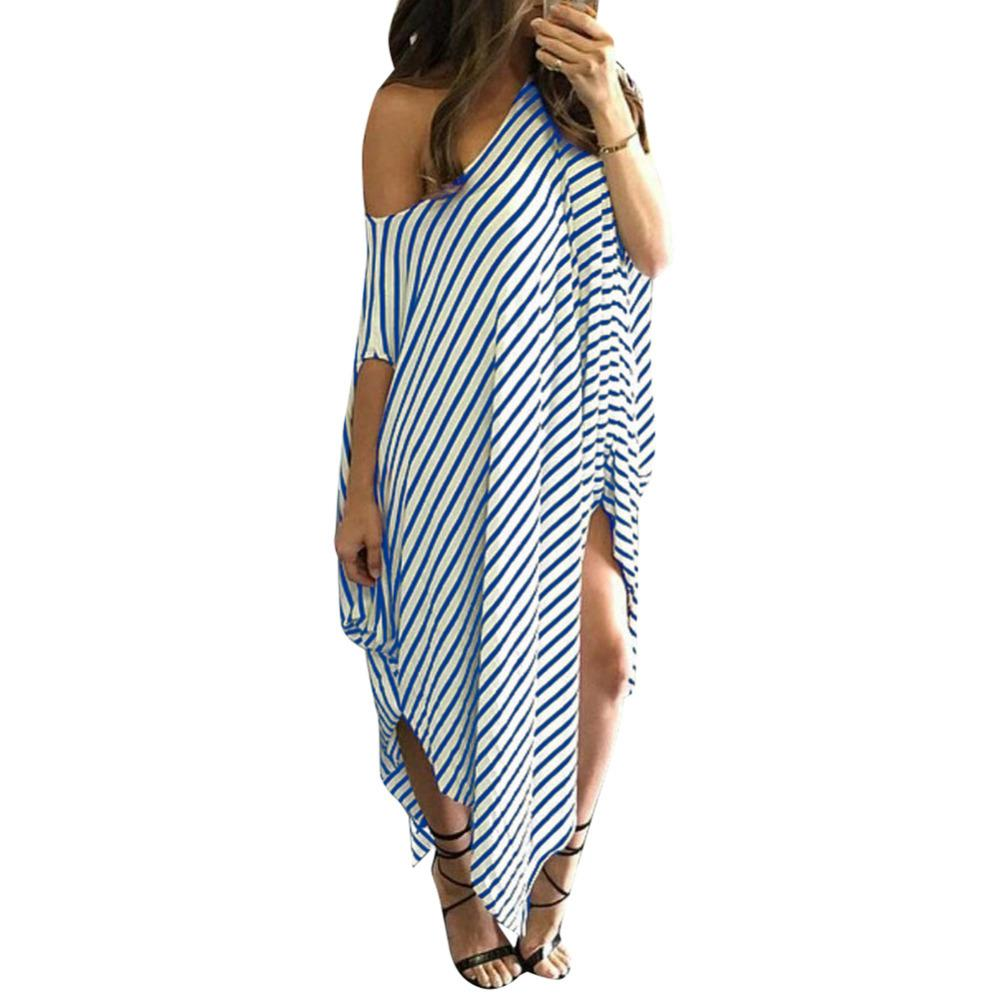 a1071f82bf6 5XL Women Loose Long Striped Dress Batwing Sleeve Off Shoulder Summer Dress  2018 Split Asymmetric Casual Plus Size Maxi Dress Black And White Cocktail  ...