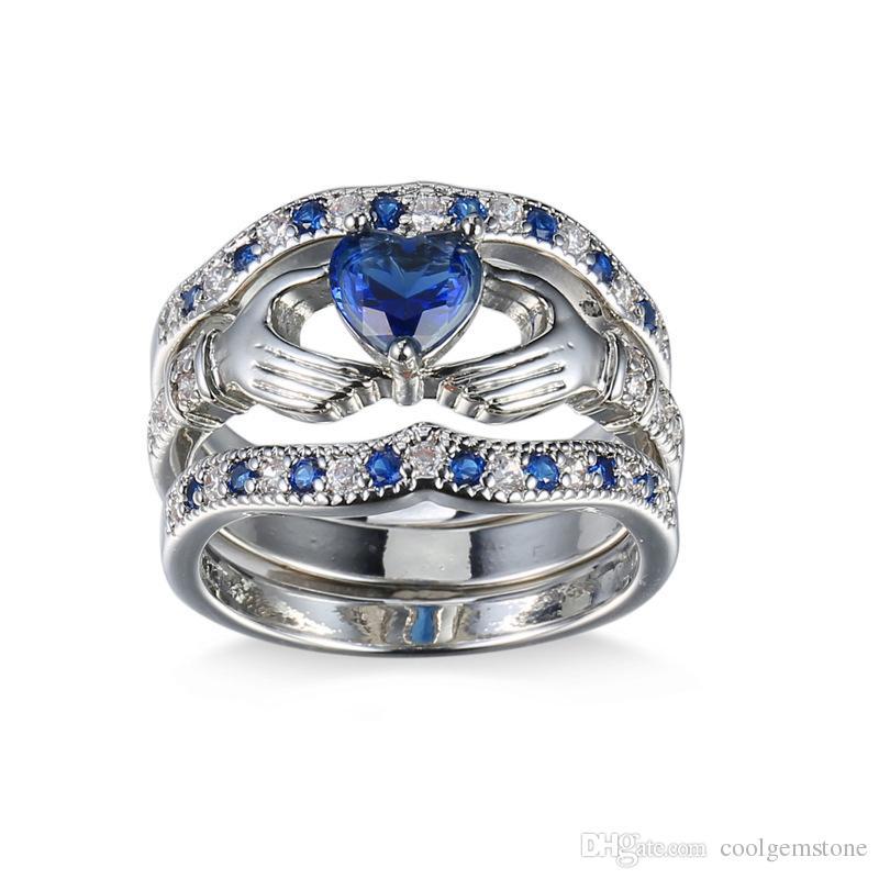 Luckyshine hot seller mode smycken märke kvinnor bröllop ringar för älskare mörkblå hjärtformad zirkon silver pläterad 3 st ringer set
