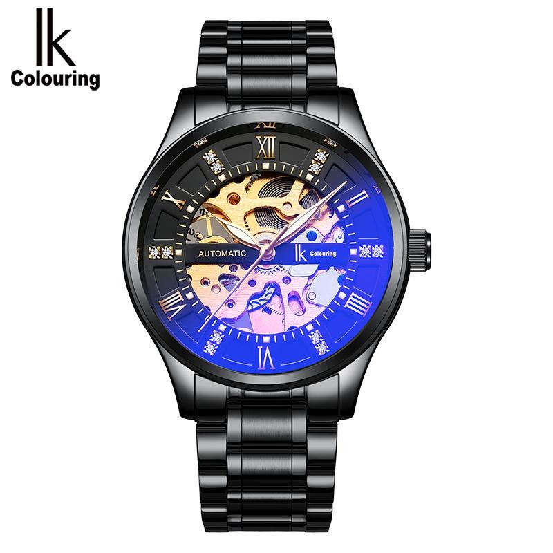 6de95251115 Compre IK Coloração Relógios Dos Homens Top Marca De Luxo Automático Auto  Vento Relógio Mecânico Homens Relógios De Aço Inoxidável Relogio Masculino  De ...