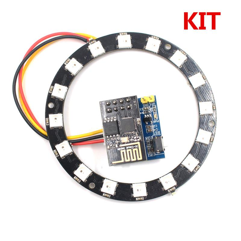 ESP8266 ESP-01S WS2812 RGB LED Ring Controller 24Bit WS2812 5050 RGB LED  Integrated Drivers for arduino KIT Christmas gift