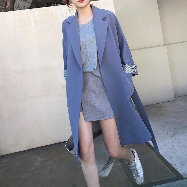 Compre Chaquetas Y Chaquetas Para Mujer Estilo Coreano Abrigo Largo Con  Cinturón Primavera Otoño Chaqueta Femenina Traje Chaqueta Blazer Manga Larga  YQ224 A ... f23c21524211