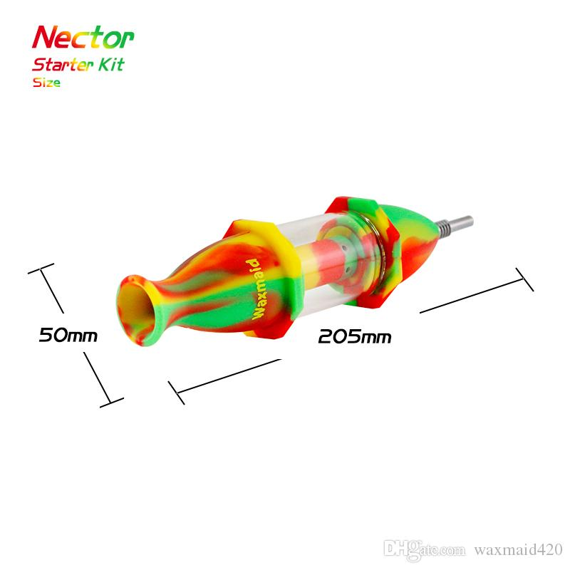 Glass Bong Nectar Collector Silicone Bong Oil Burner with Titanium Nail For Choose Silicone Bongs Wholesale DHL