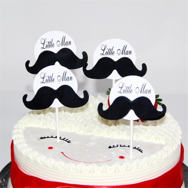 Grosshandel 8 Stucke Schnurrbart Runde Happy Birthday Cake Toppers Dekoration Kinder Geburtstag Dekorieren Pick Pock Flags Werkzeug Partei Liefert Von