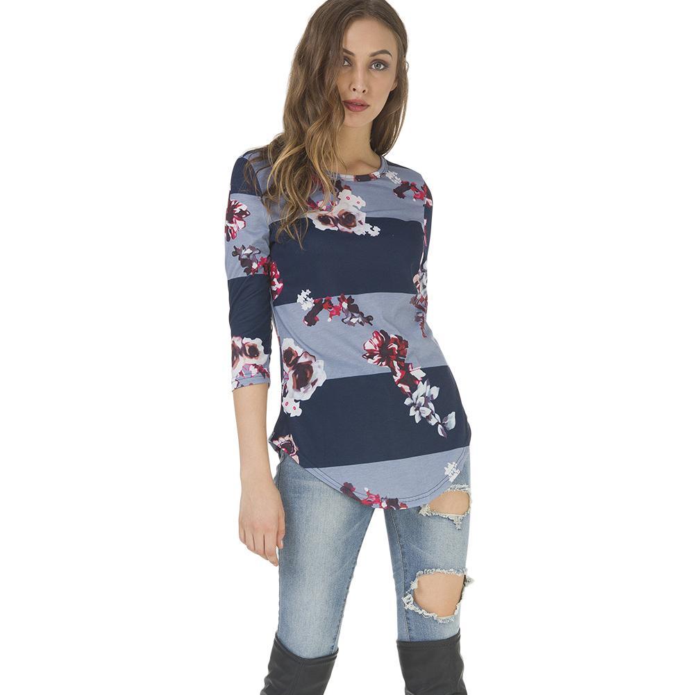 1cb87a5b808d Fashion Casual 3/4 Sleeve Printed Floral Flower T Shirt Women Top Tees  Summer Autumn 2019 T Shirt Femme Ladies Tshirt Clothes Fashion T Shirts  Print Shirt ...