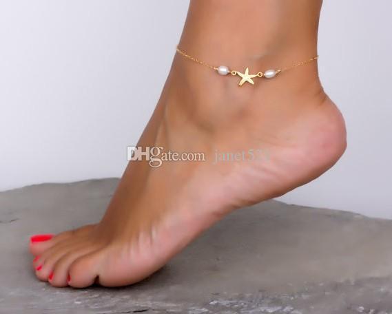 Punk Fußkettchen Mädchen / Damen Goldton Seesterne Kunstperlen Fußkette Kette Fußfesseln Yoga Tanzen Fußkettchen