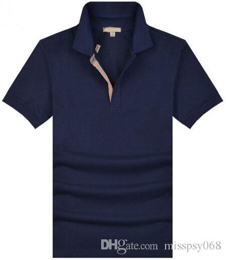 495ef331b9e67 Compre Pop Londres Homens Brit Polo Camisa De Manga Curta Pólos Sólidos Fit  Slim Reino Unido Camisas Esportes Masculinos Camisas De Algodão T Tops De  ...