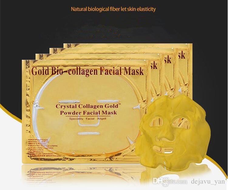Masque facial Gold Bio - Boue au collagène Masque facial Masque Poudre de cristaux dorés Hydratant Anti-âge Blanchiment des soins de la peau Une beauté douce