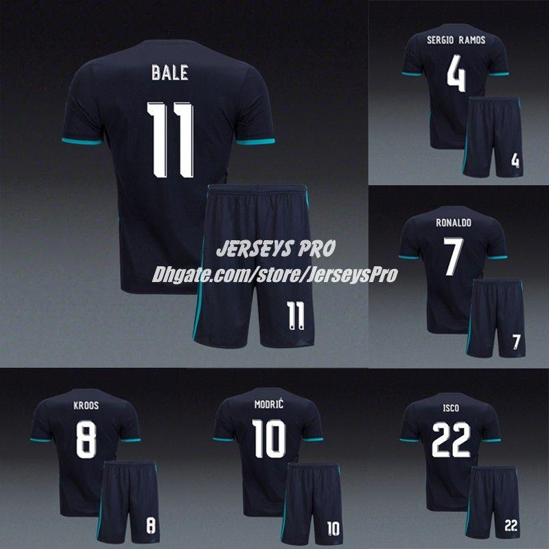 quality design cccb8 e6948 Cristiano Ronaldo Madrid Uniforms 2017 2018 Away Black Soccer Jerseys Kits  Sergio Ramos Gareth Bale Karim Benzema Isco Luca Modric Marcelo