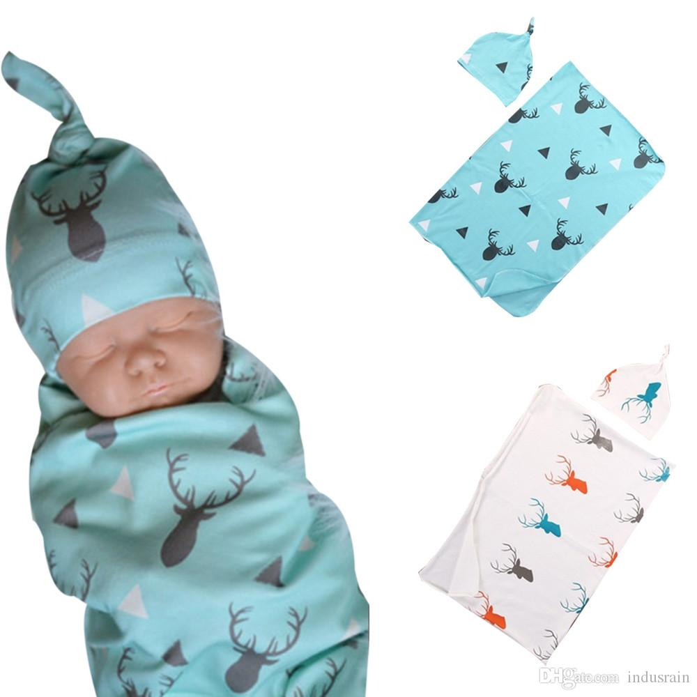 bcede1d6df2 Newborn Infant Baby Boy Deer Swaddle Blanket +Hat Boy Coming Home Cotton  Bath Towel Knitted Baby Blankets For Sale Kids Personalized Blankets From  Indusrain ...