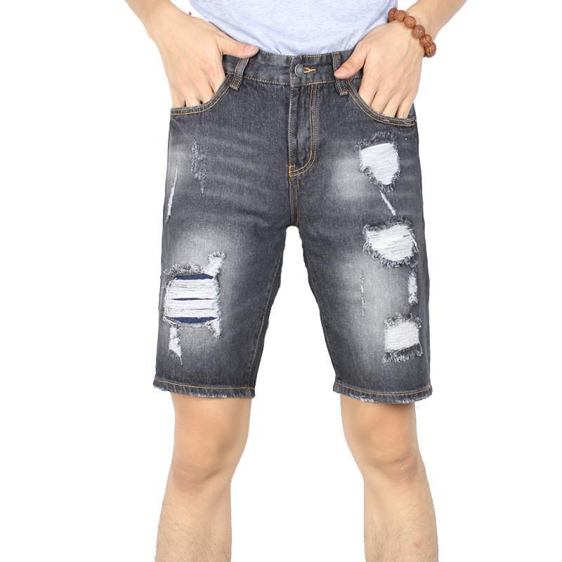 ad28ee659 Newsosoo hombres moda arrancó pantalones vaqueros cortos Slim Fit Straight  apenado pantalones vaqueros mezclilla hombre estiramiento destruyó ...
