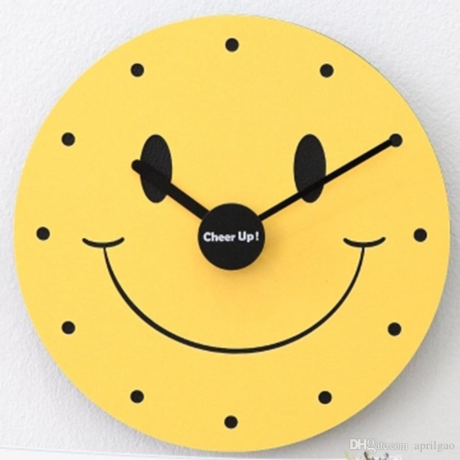 Acrylic Wall Clock Cute Children 10 Inch Yellow Fashion Watches Creative  Silent Wanduhren Wall Decorations Living Room 50wc240 Kids Wall Clock Kids  Wall ...