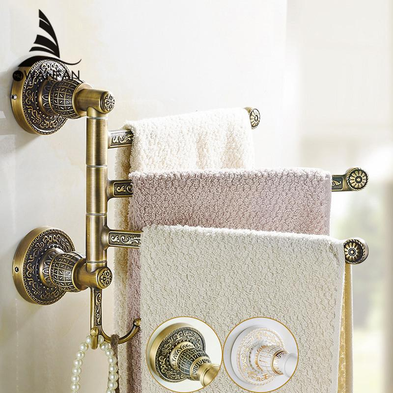 Towel Racks Brass 2-5 Layer Rail 2 Towel Hook Hanger Vintage Luxury ...
