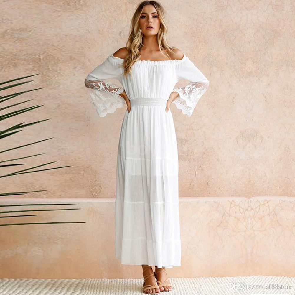 420f82956c73 Women Summer Boho Lace Long Maxi Dress Evening Cocktail Party Beach Dresses  Wedding Party Dresses Silver Dresses From Sf88store