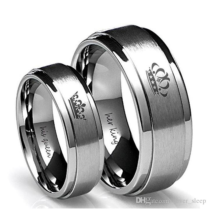 316L Stainless Steel HIS QUEEN 6mm IP Black Plated Color and HER KING Couple Rings for Lovers