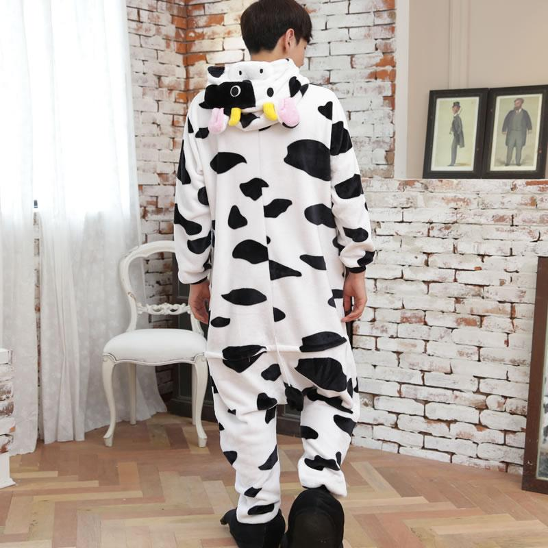 2017 Unisex Adult Dairy cow Pajamas Sets Cosplay Costume Cute Cartoon Animal Sleepwear Winter Autumn Onesie For Women Men Girls