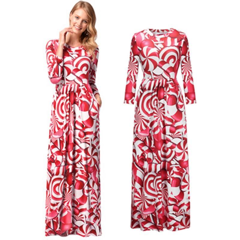 2018 Christmas Woman Long Dress Cartoon Print Pattern Long Sleeve ...
