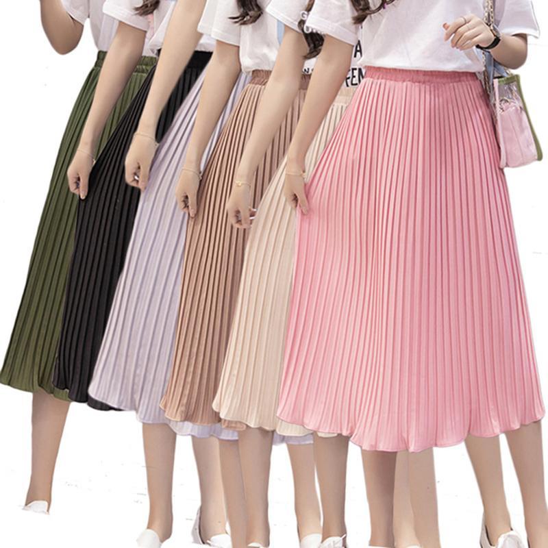 060140531 Las mujeres de moda falda plisada gasa elástica de cintura alta tutú falda  Casual verano otoño Maxi femenino elegante Midi faldas de mujer