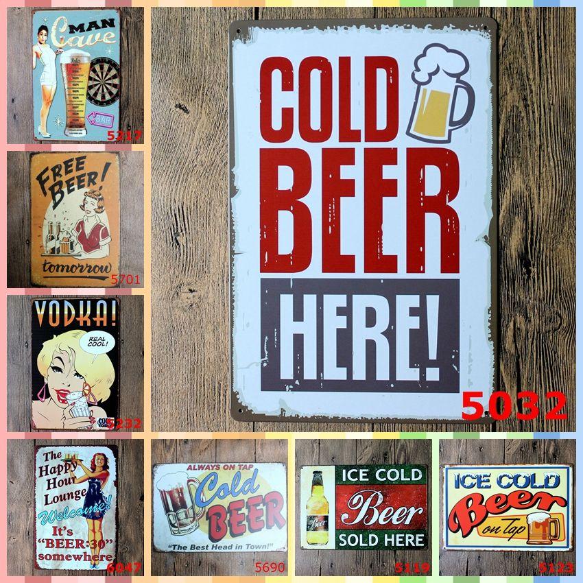 Bière Froide Ici 20 30 Cm Peinture En Métal Tôle Signes Chambre Décor à La Maison Mur Art Peinture Artisanat Fournitures Cadeau De Noël