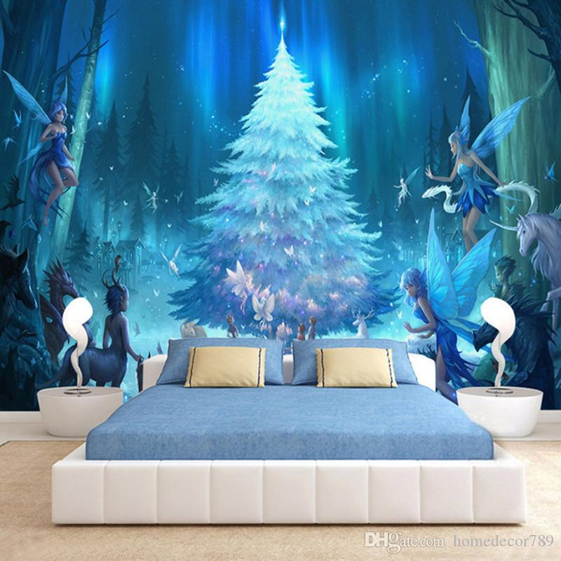 Custom 3D Stereo Murals Cartoon Fluorescent Tree Photo