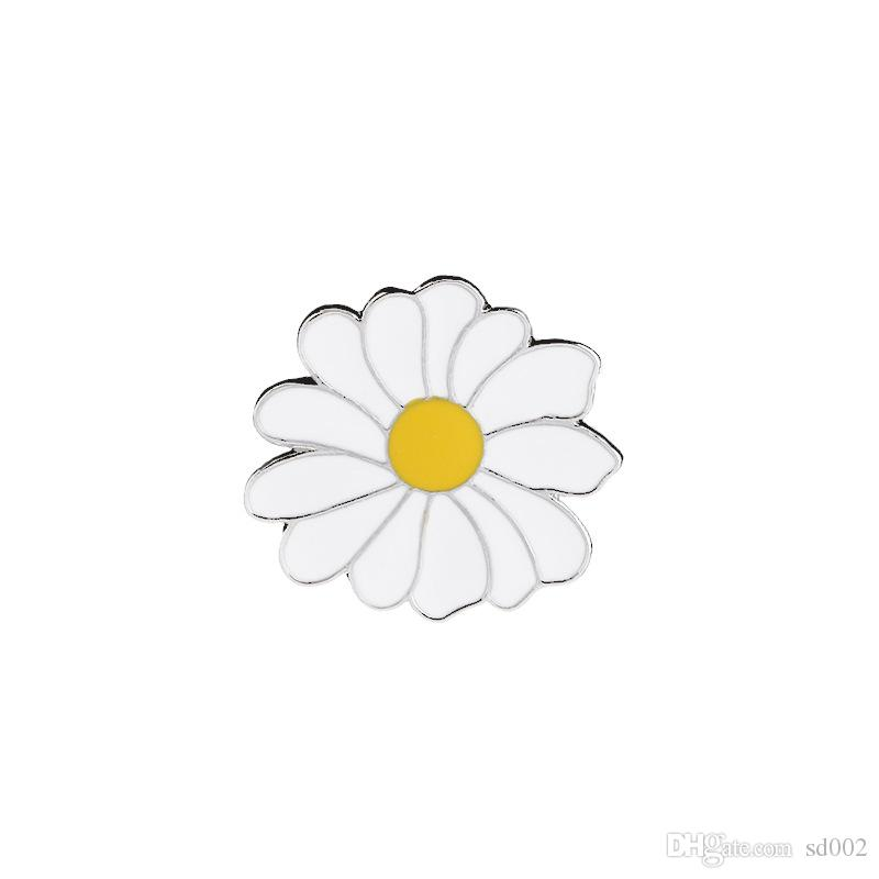 Small Daisy Dripping Oil Alloy Brooch Concise Beach Style Brooches