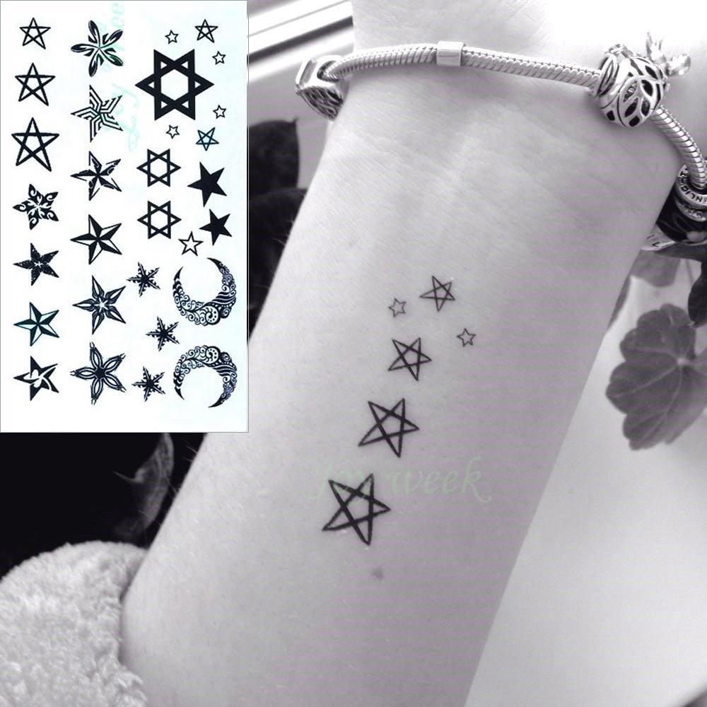 Grosshandel Wasserdicht Temporare Tattoo Aufkleber Kleine Sterne Mond