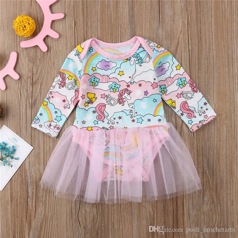 Unicorn Baby Girl Rompers With Ruffle Tutu Birthday Party bodysuits pascoa Newborn Baby Clothing Boutique Rainbow Unicornio Girls Clothes
