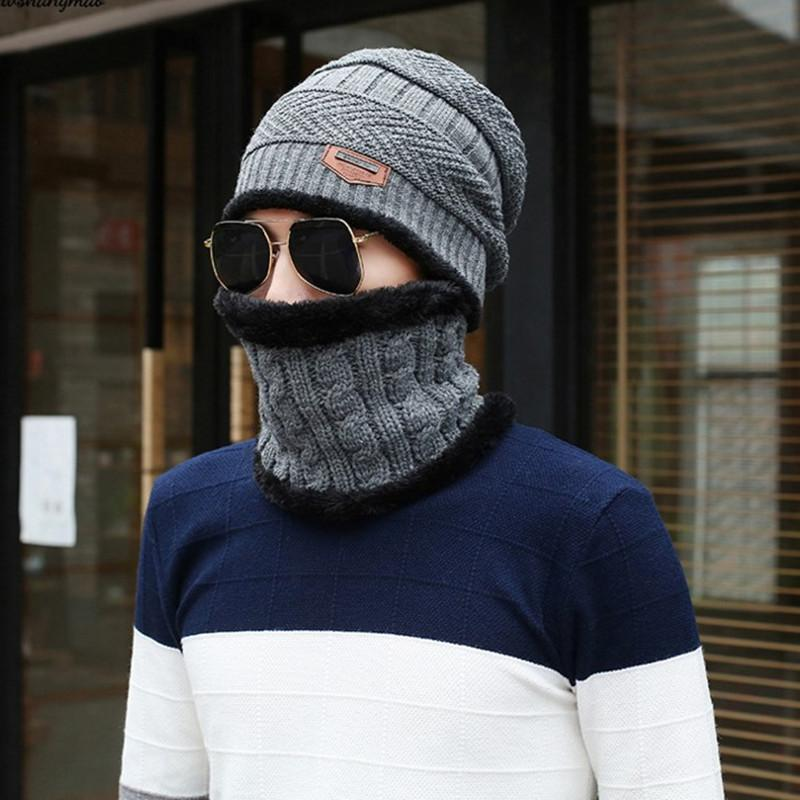 2019 Men Hats Autumn Winter Mixed With Fleece Knitted Hats Head Covering  Cap Neck Suit Ear Protection Warm Casual Fashion Adult From Qingfengxu 2ec6160866f