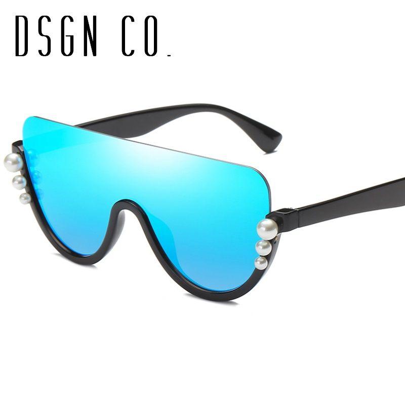 DSGN CO. 2018 Fashion Pearl Sunglasses For Women Bottom Up Half ...