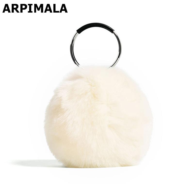 f0e7c95f2d ARPIMALA 2017 Women Faux Fur Handbags Luxury Designer Evening Bag Famous  Brand Fur Clutch Bag Circle Party Ladies Hand Bags Personalized Bags  Fashion ...