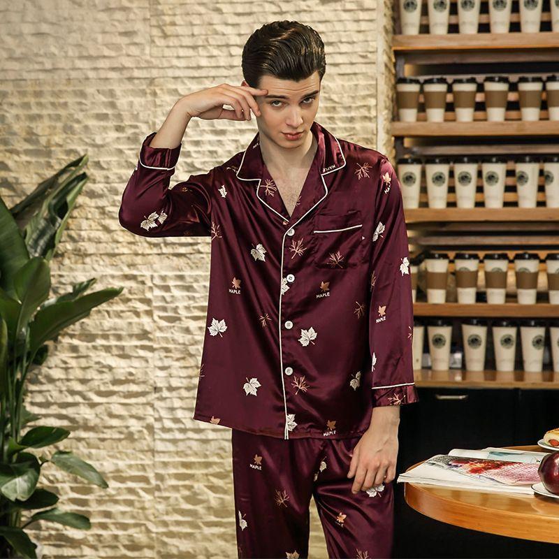 063ec4397b 2019 PS0237 2018 New Fashion Men Pajamas Print Satin Silk Sleepwear Male  Full Sleeve Long Pants Two Pieces Set Pyjamas Pajama Set Men From Bunnier