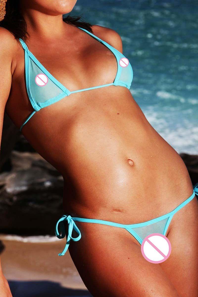 e866029f40c0 Sexy Triángulo Mini Micro Bikinis conjunto de trajes de baño de malla de  algodón vendaje transparente traje de baño traje de baño de las mujeres de  la ...