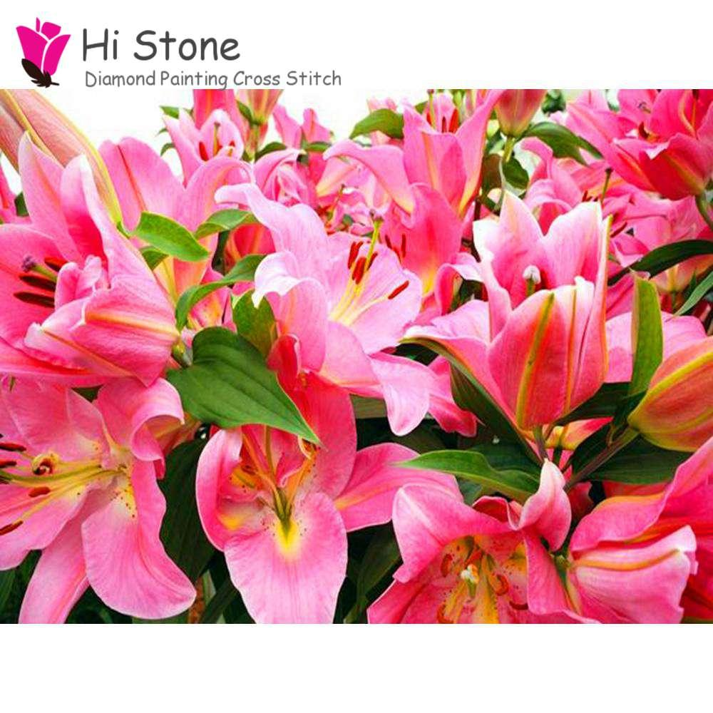 5d Diy Diamond Painting Pink Lily Flower Full Square Cross Stitch Kits Diamond Embroidery Strass Pictures Mosaic Crystals Decor