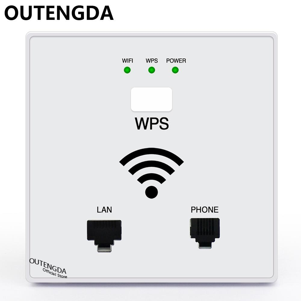 Outengda 300mbps In Wall Wifi Access Point Wireless Socket Ap For Xiaomi Mini Usb Router Emitter Adapter 150mbps Original Black Hotel Project Support Ac Management Rj45 Rj11 Wps Encryption