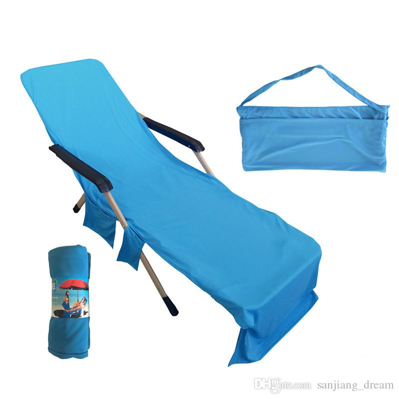 2018 New Arrival Beach Chair Ice Towel Cover Deck Chair Blankets Portable Incidental Strap Lounger Mate Beach Towels Fabric Blanket