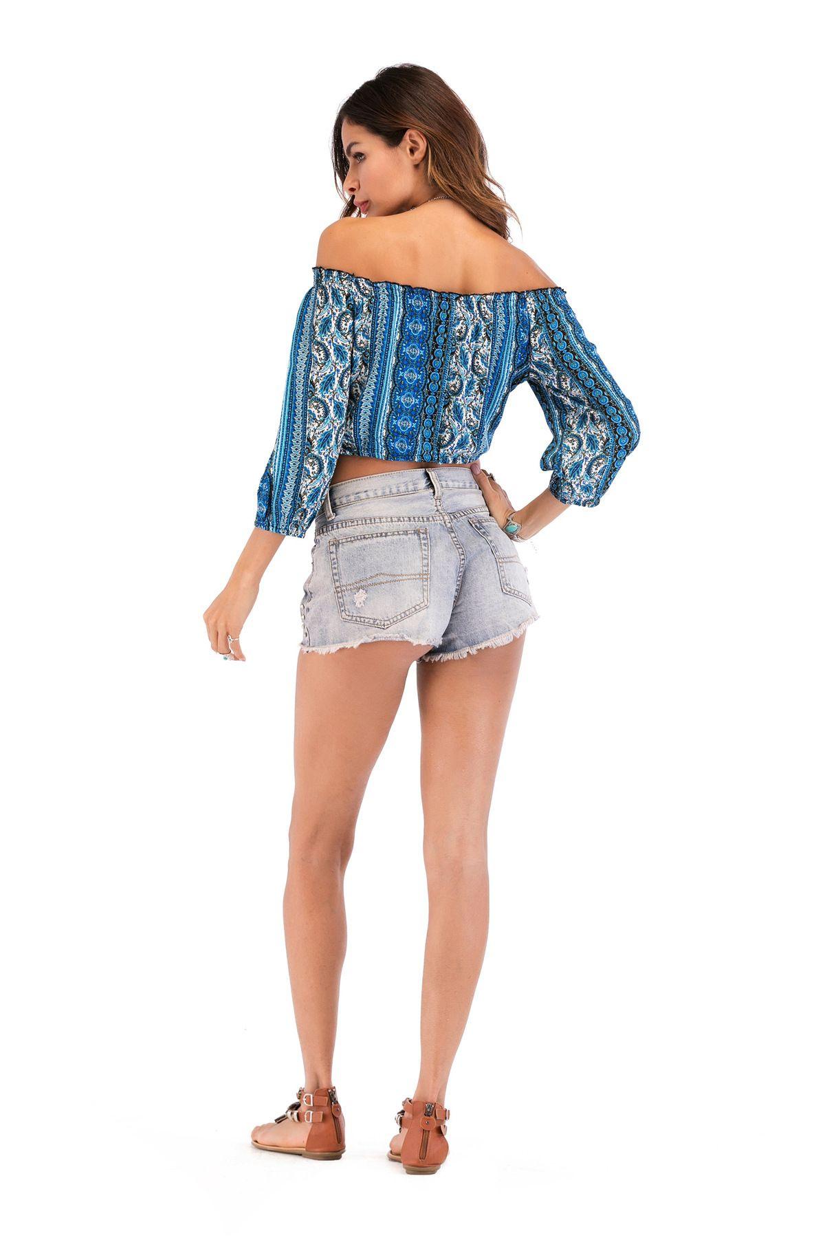 Damen Sommer Off Schulter 3 / 4sleeve Sexy Druck Chiffon Hemd Bluse Crop Top Bohemia Druck Top Bluse L-2XL