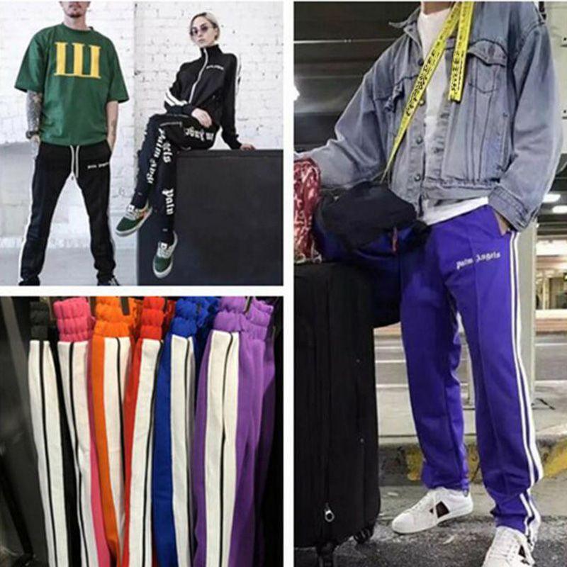 b7e25d9af2 Palm Angels Sweatpants Women Men Fashion Casual Pink Purple Sweatpants  Drawstring Zipper Blue Sweatpants Coat Jacket Sale Denim Jacket With Wool  Collar From ...