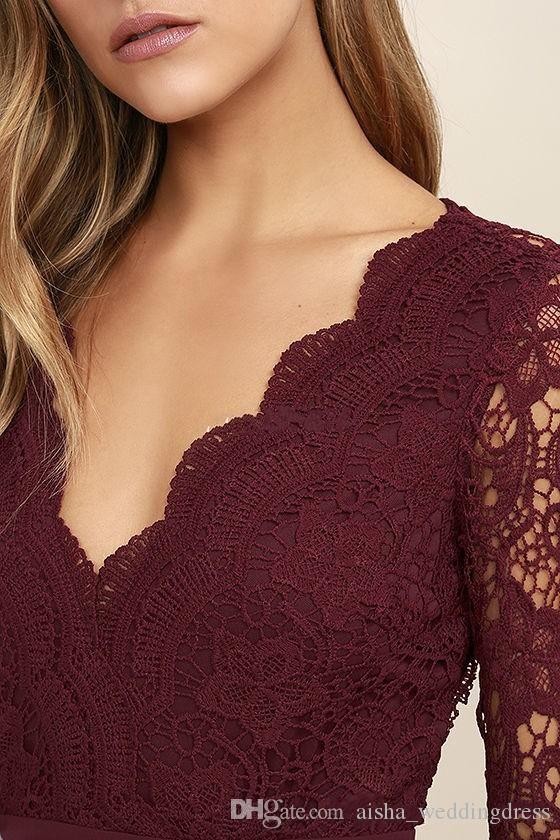 2018 Burgundy Chiffon Bridesmaid Dresses Long Sleeves Western Country Style V-Neck Backless Long Beach Lace Top Wedding Party Dresses Cheap