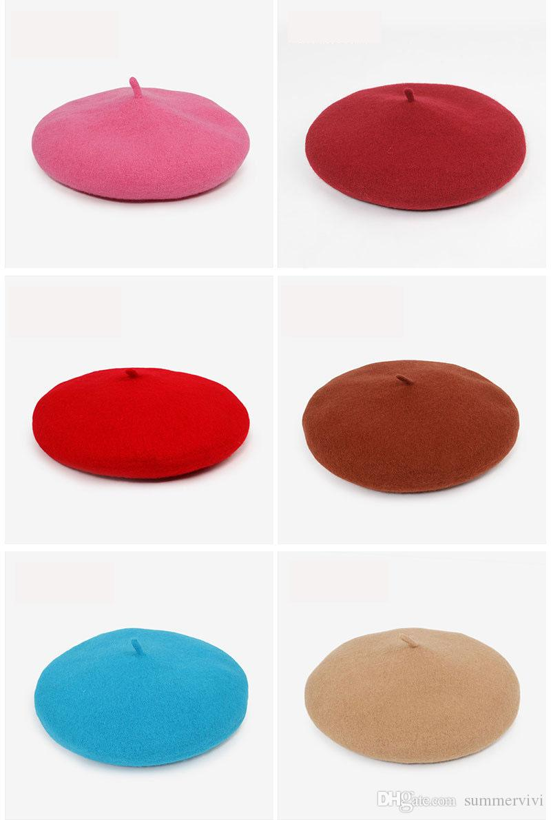 Девушки шерстяные берет дети 39 цветов художник hat весна девушки принцесса аксессуары мода дети полушерстяные шапочки детские капот R2636