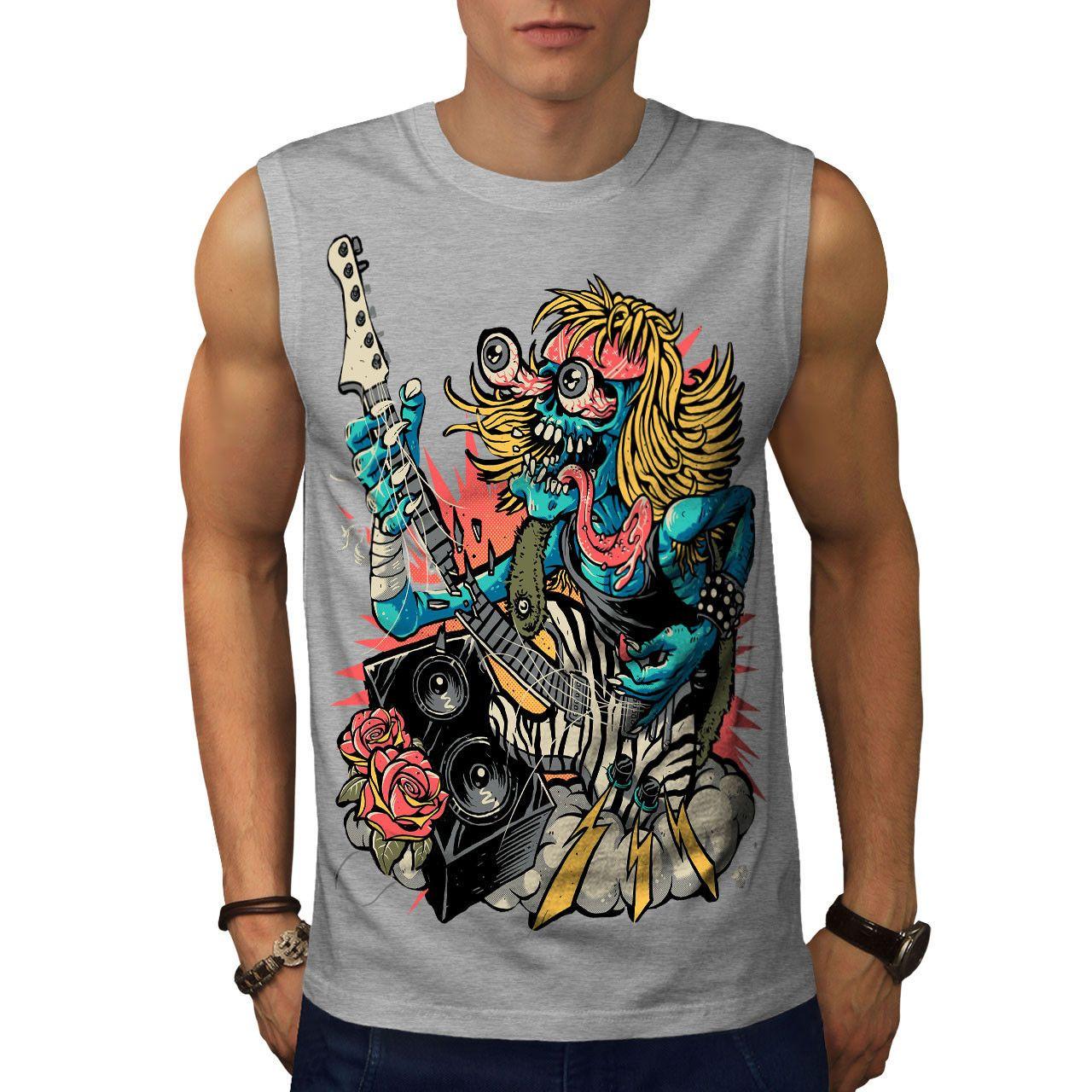 ee5eb5691 Rock Band Guitar Music Men Sleeveless T Shirt NEW | Wellcoda Funny ...