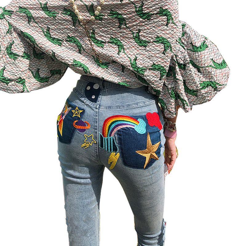 2ffac4c5 Compre Elástico Básico Mujeres Largas Jeans Mujer 2018push Up Jeans  Ajustados Con Bordado Delgado Estiramiento Lindo Bonito Pantalones De  Mezclilla Femme ...
