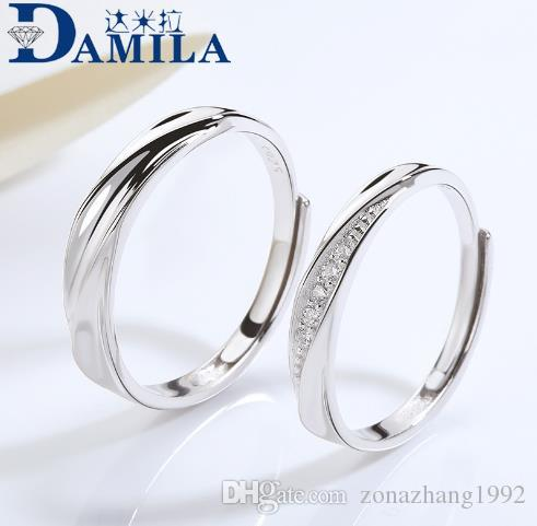 S925 Sterling Silver Couple Ring Classic Stylish Simple Open Ring
