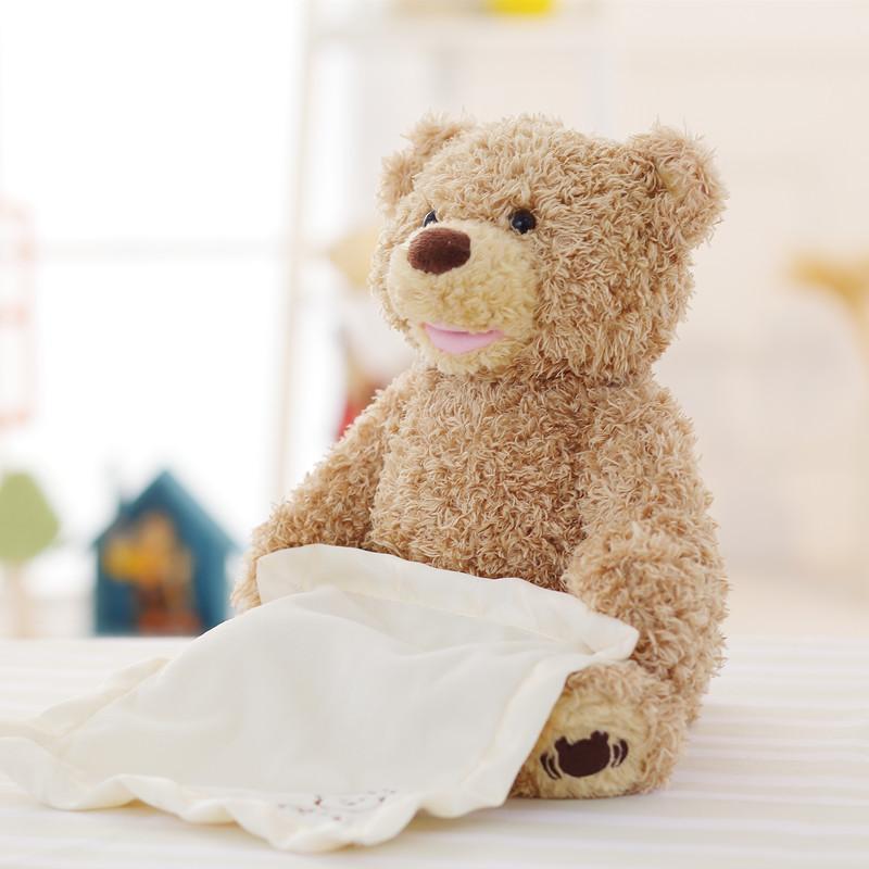 Nouveau peek un ours en peluche Boo jouer cache-cache belle bande dessinée peluche ours en peluche enfants cadeau d'anniversaire mignon musique ours en peluche jouet