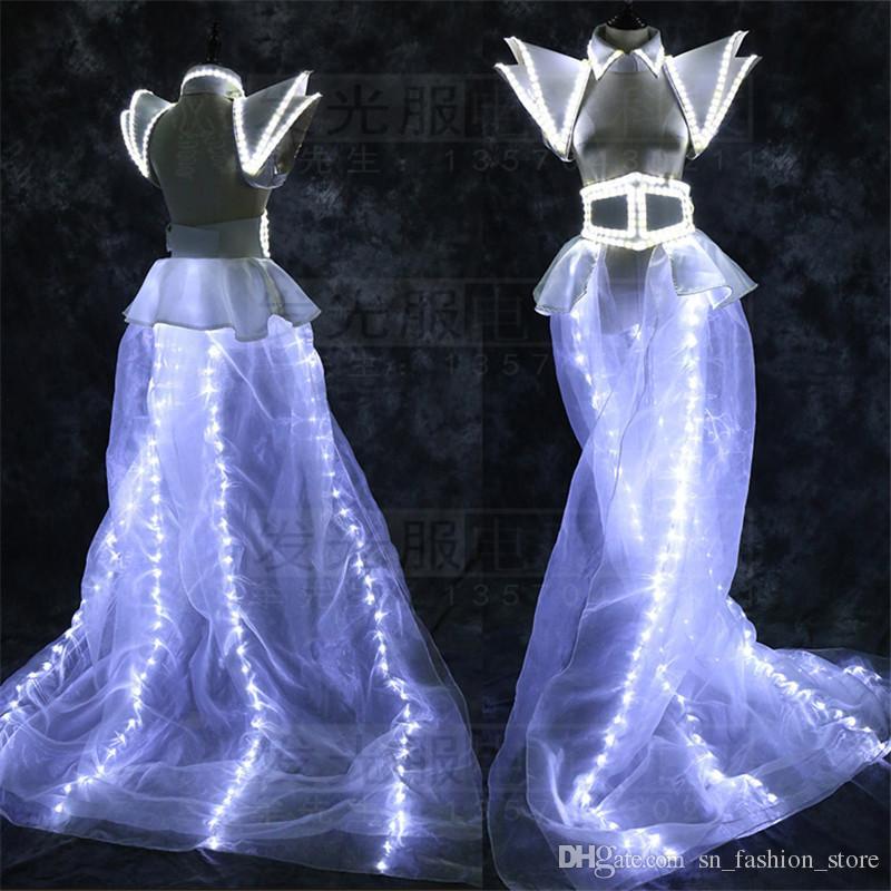 LZ03 LED light costumes white ballroom dance party singer dresses women models show dj bar stage model wear clothes led shoulder performance
