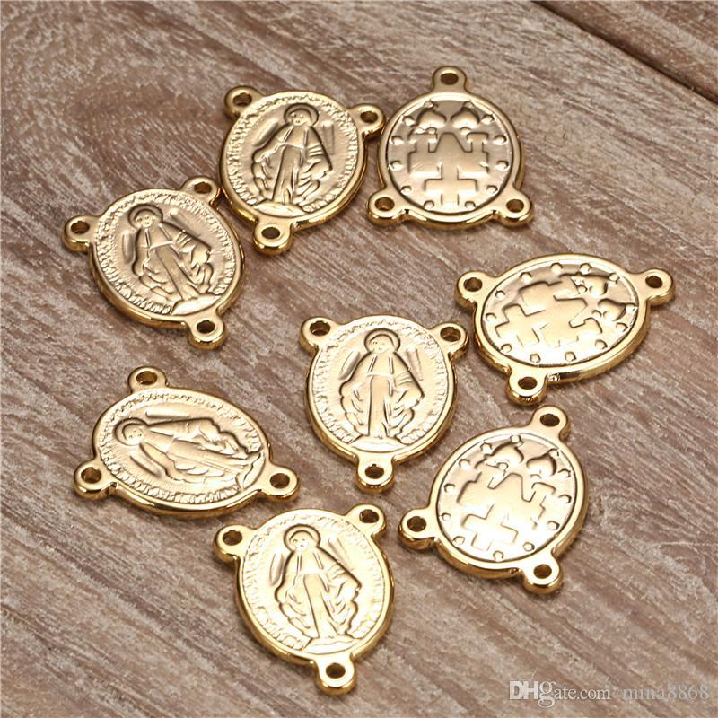 50 adet / grup gümüş / altın renk paslanmaz çelik İsa charms konnektörler takı için katolik tespih merkezinde oval kolye DIY için parçaları