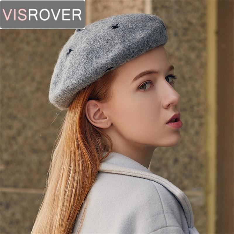 d907cbb11f5ed7 VISROVER New Autumn Winter Solid Wool Beret Hats for Female Cashmere ...