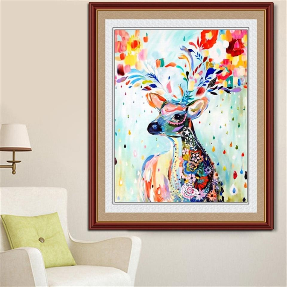 Color hand-painted sika deer 5D DIY diamond painting embroidery cross-stitch diamond mosaic animal square rhinestone photo gift decoration