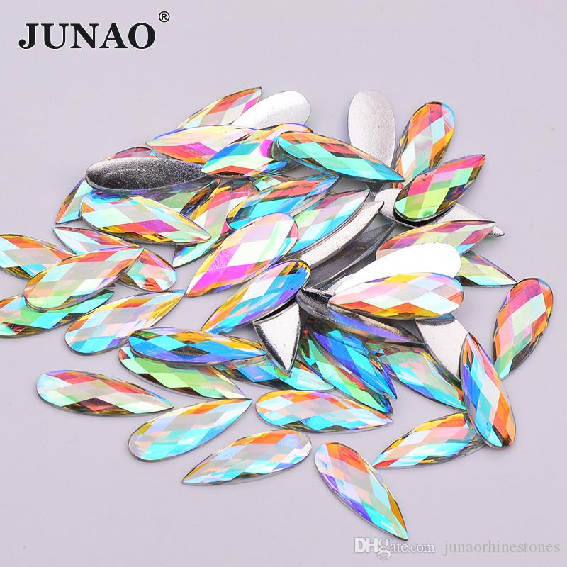 JUNAO 100pc 8*22mm Crystal AB Drop Resin Rhinestones Flat Back Crystal Stones Non Sewing Beads for DIY Jewelry Clothes Crafts