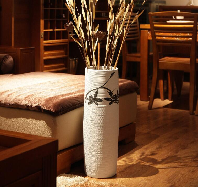 Hohe Vase, dekorative Boden Keramik gerade weiße Vase Dekoration,  Wohnzimmer chinesische Blumenvase