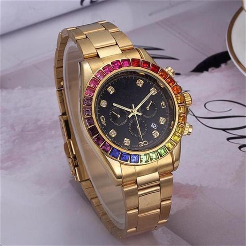 f86fe81568215 Luxury Men's / Women's Quartz Watches Rainbow jumping through hoops Clock  dial fashion New Designer Men Dial diameter 40 mm