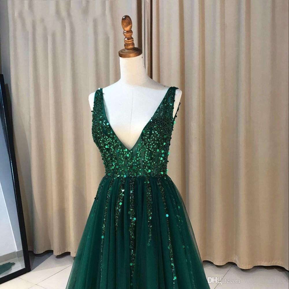 2018 Sexy Col En V A-ligne Longue Robes De Soirée Seqin Perlée Fermeture À Glissière Retour Robes De Soirée Formelles Robes De Bal Robe De Noche